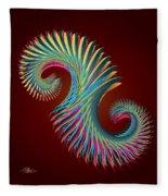 Fractal Feather Spiral Fleece Blanket