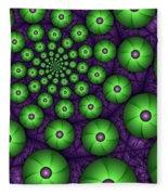 Fractal Green Shapes Fleece Blanket