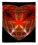 Fractal - Heart - Open Heart Fleece Blanket