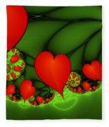 Fractal Hearts In The Discothec Fleece Blanket