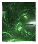 Fractal Living Green Metal Fleece Blanket