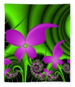 Fractal Neon Fantasy Fleece Blanket