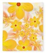 Fractal Yellow Flowers Fleece Blanket