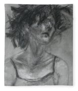 Gathering Strength - Original Charcoal Drawing - Contemporary Impressionist Art Fleece Blanket