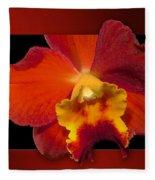 Framed Red Orchid  Fleece Blanket