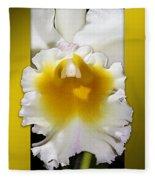 Framed White Orchid Fleece Blanket