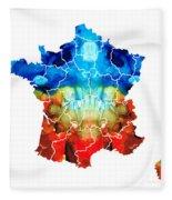 France - European Map By Sharon Cummings Fleece Blanket
