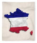 France Map Art With Flag Design Fleece Blanket