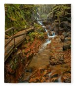 Franconia Notch Lush Greens And Rushing Waters Fleece Blanket