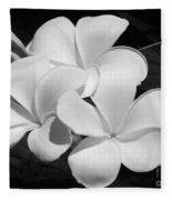 Frangipani In Black And White Fleece Blanket