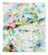 Frank Sinatra - Watercolor Portrait.1 Fleece Blanket