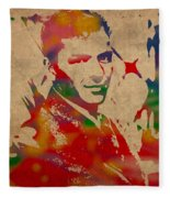 Frank Sinatra Watercolor Portrait On Worn Distressed Canvas Fleece Blanket