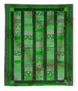 Frankensteins Quilt - Coin Quilt - Quilt Painting - Monster Green Patches Fleece Blanket