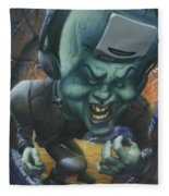 Frankinstein Playing The Air Guitar - Parody - Illustration - Monster Monsters - Humorous Fleece Blanket