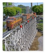 Freight Train Bridge Crossing Fleece Blanket