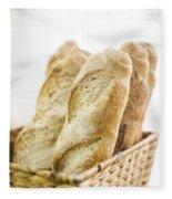 French Baguette In Basket Fleece Blanket