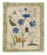 French Botanical Damask-b Fleece Blanket