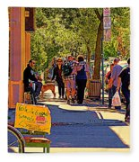 French Bread On Laurier Street Montreal Cafe Scene Sunny Corner With Vente De Garage Sign Fleece Blanket