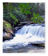 French Broad River Waterfall Fleece Blanket
