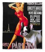 French Bulldog Art - Una Parigina Movie Poster Fleece Blanket