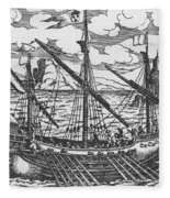 French Galley Operating In The Ports Of The Levant Since Louis Xi  Fleece Blanket