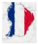 French Guiana Painted Flag Map Fleece Blanket