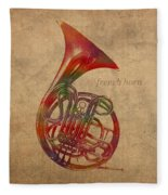 French Horn Brass Instrument Watercolor Portrait On Worn Canvas Fleece Blanket