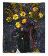 French Marigold Purple Daisies And Golden Sheaves Fleece Blanket
