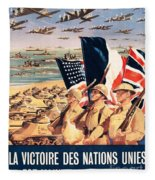French Propaganda Poster Published In Algeria From World War II 1943 Fleece Blanket