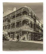 French Quarter Afternoon Sepia Fleece Blanket