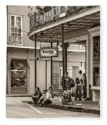 French Quarter - Hangin' Out Sepia Fleece Blanket