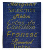 French Wines - 2 Champagne And Bordeaux Region Fleece Blanket