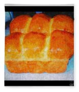 Fresh Baked Bread Three Bun Loaf Fleece Blanket
