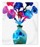 Fresh Cut - Vibrant Flowers Floral Painting Fleece Blanket