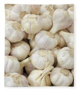 Fresh Garlic Bulbs Fleece Blanket