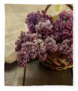 Fresh Lilacs In Brown Basket Fleece Blanket