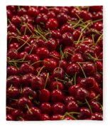 Fresh Red Cherries Fleece Blanket