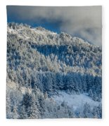 Fresh Snow On The Mountain Fleece Blanket