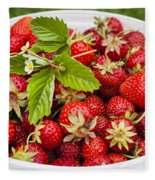 Freshly Picked Strawberries Fleece Blanket
