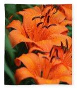 Freshly Showered Tiger Lilys Fleece Blanket