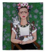 Frida Cat Lover  Fleece Blanket