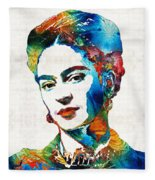 Frida Kahlo Art - Viva La Frida - By Sharon Cummings Fleece Blanket