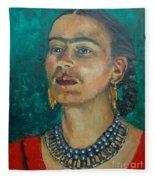 Frida Teal Fleece Blanket