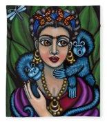 Frida's Monkeys Fleece Blanket