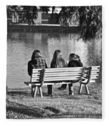 Friends In Black And White Fleece Blanket