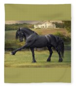 Friesian Stallion Tije Spanish Walk Fleece Blanket
