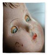 Frightened Vintage Doll Face Fleece Blanket