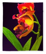 Frilly  Red And Yellow Orchids Fleece Blanket