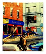 Friperie St.laurent Clothing Variety Dress Shop Downtown Corner Store City Scene Montreal Art Fleece Blanket