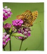 Fritillary Butterfly Square Format Fleece Blanket